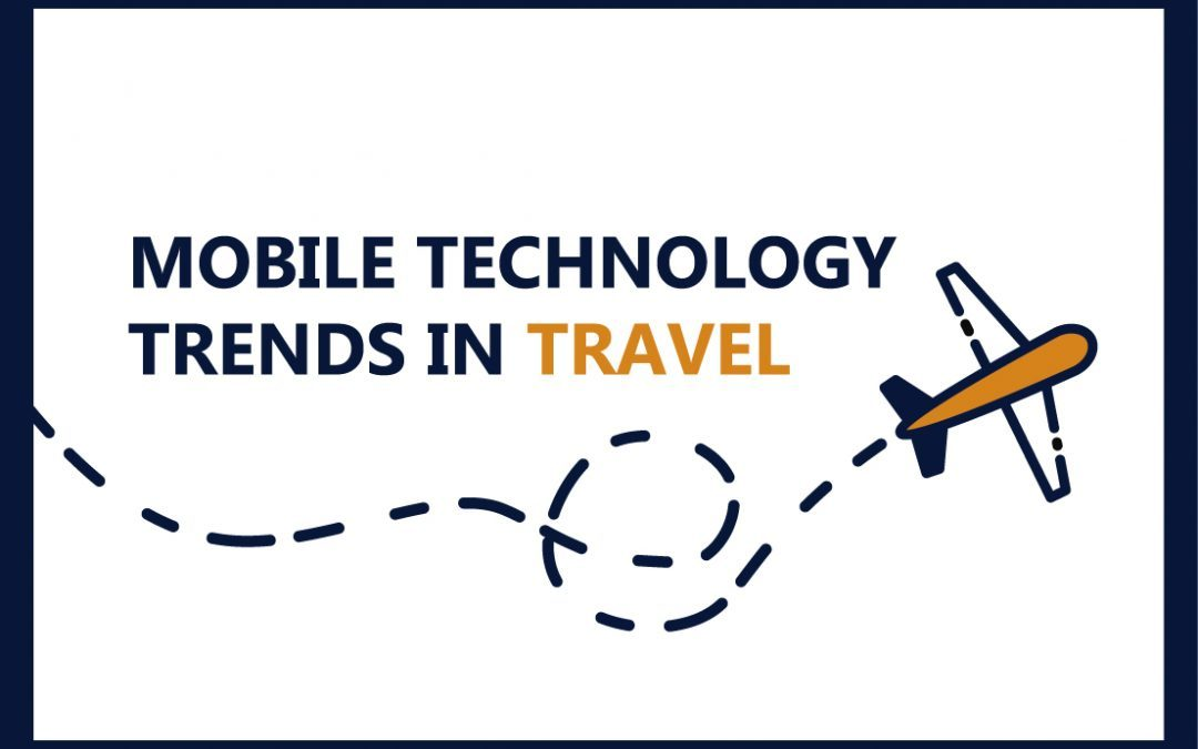Technology usage trends in business travels. Infographic.
